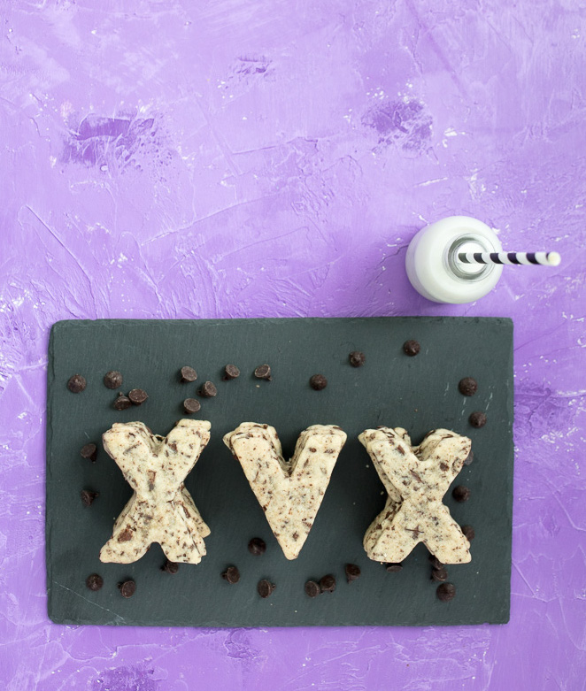 vegan chocolate chip straightedge cutout cookies