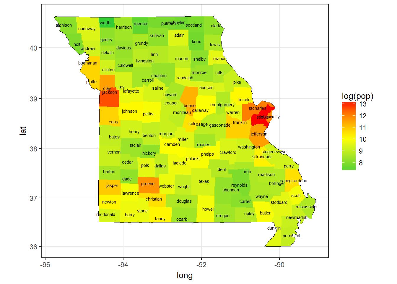 Missouri Population (Log) by County, 2009