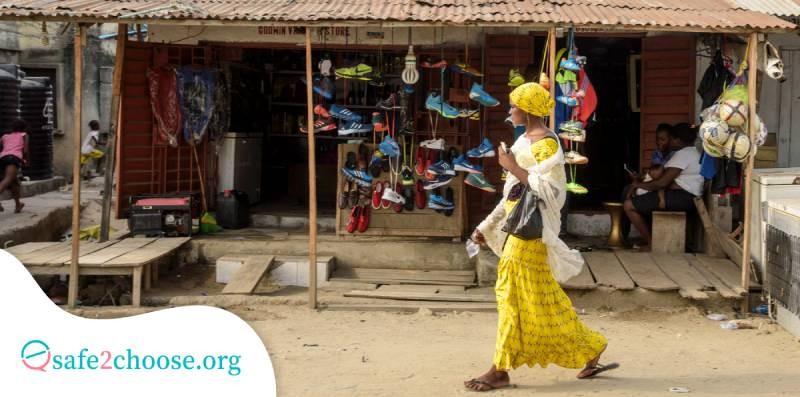 Woman walking in Lekki, Lagos, Nigeria thinking about having an abortion