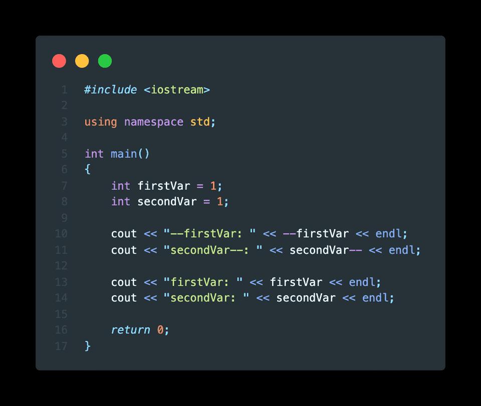 C++ example decrement operator