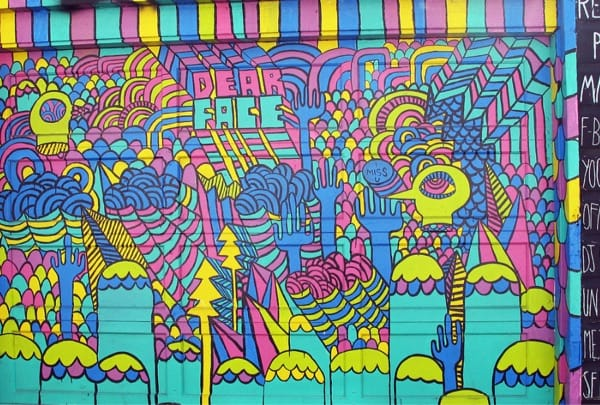 One of the colorful artworks at Clarion Alley Street
