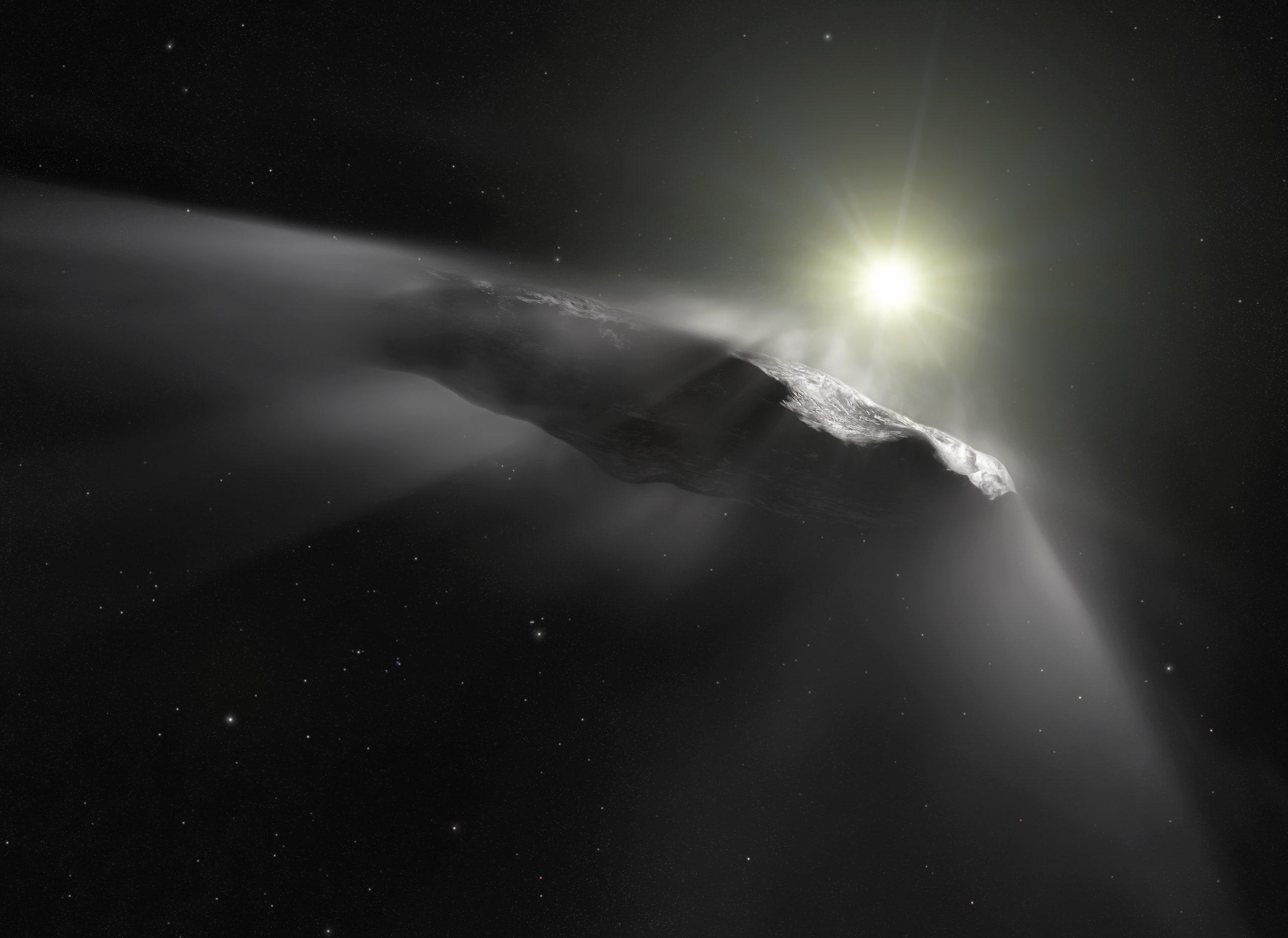 Межзвездный астероид Оумуамуа впредставлении художника. Источник: ESA/Hubble, NASA, ESO, M. Kornmesser