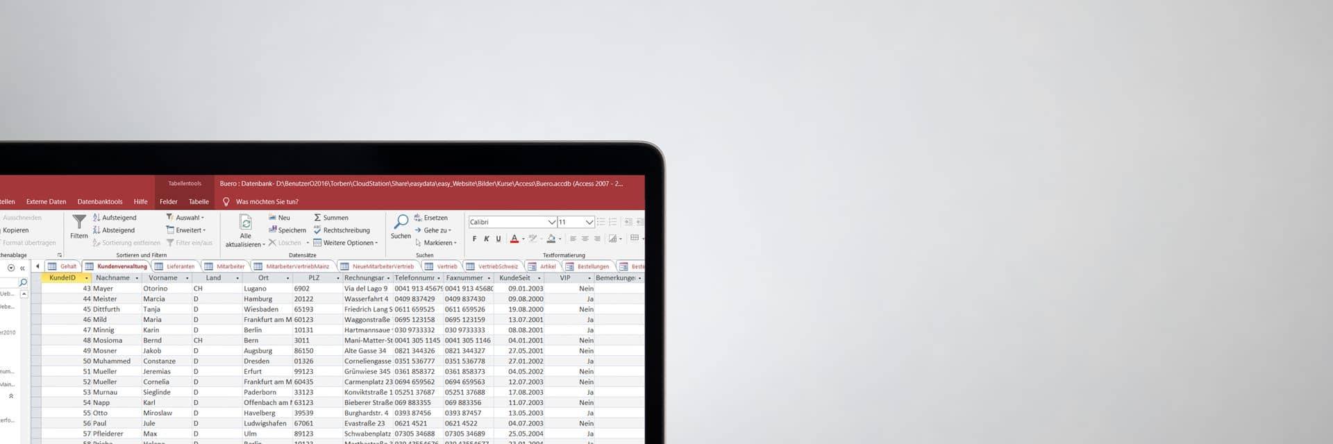 Exemplarische Tabellenansicht einer Access-Datenbank  auf einem Laptop