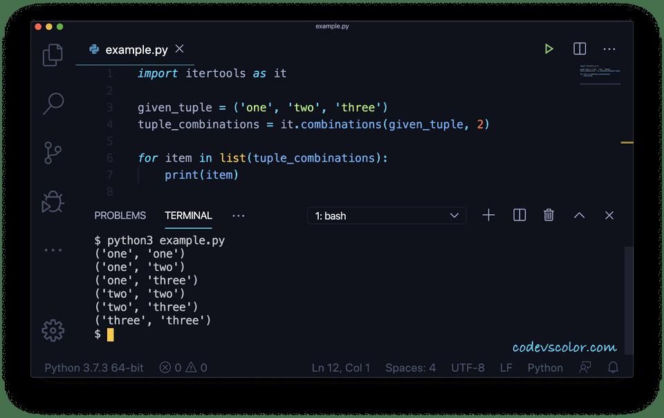 Python tuple combinations