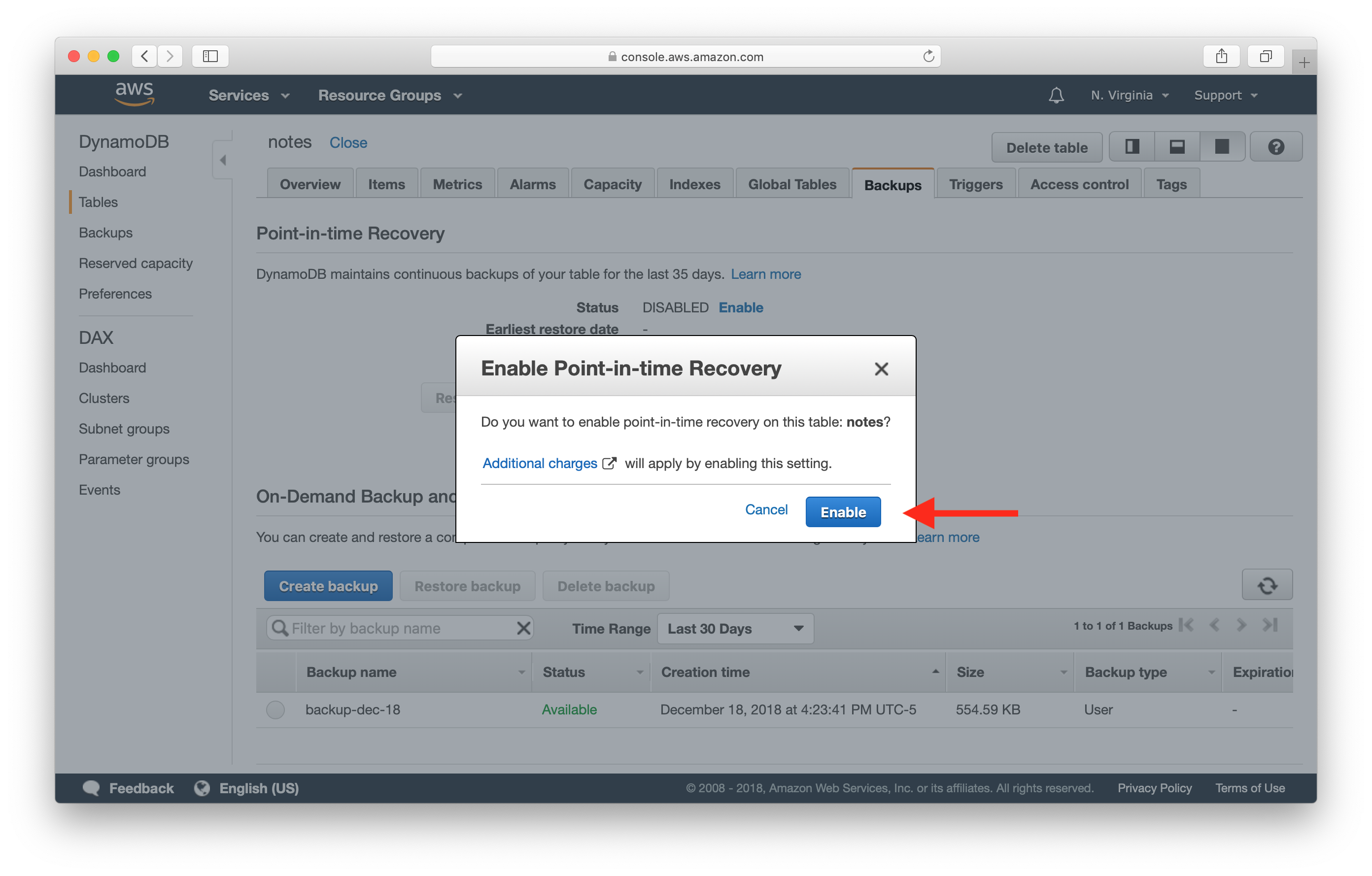 Confirm Enable DynamoDB Point-in-time Recovery screenshot