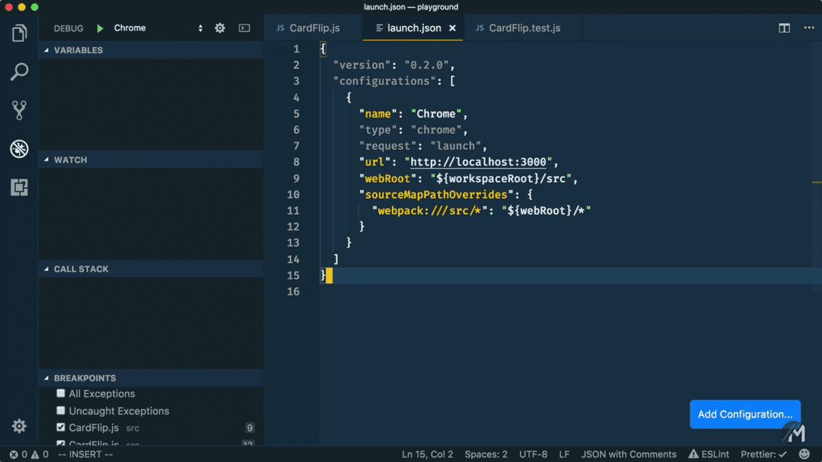 Screenshot of Launch Configuration