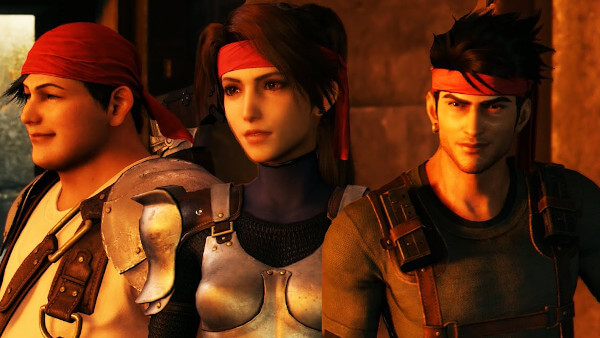 Wedge, Jessie, and Biggs as they appear in the Final Fantasy VII Remake