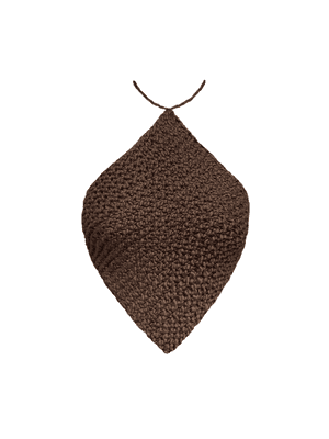 Knitted Halterneck Top, Chocolate