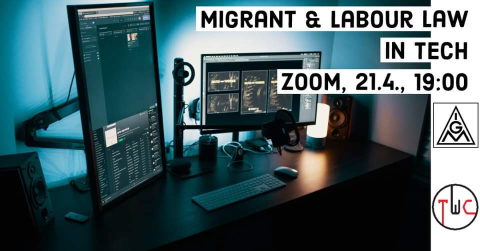 Migrant and Labour Law in Tech, photo of computer with TWC and IG Metall logos in background