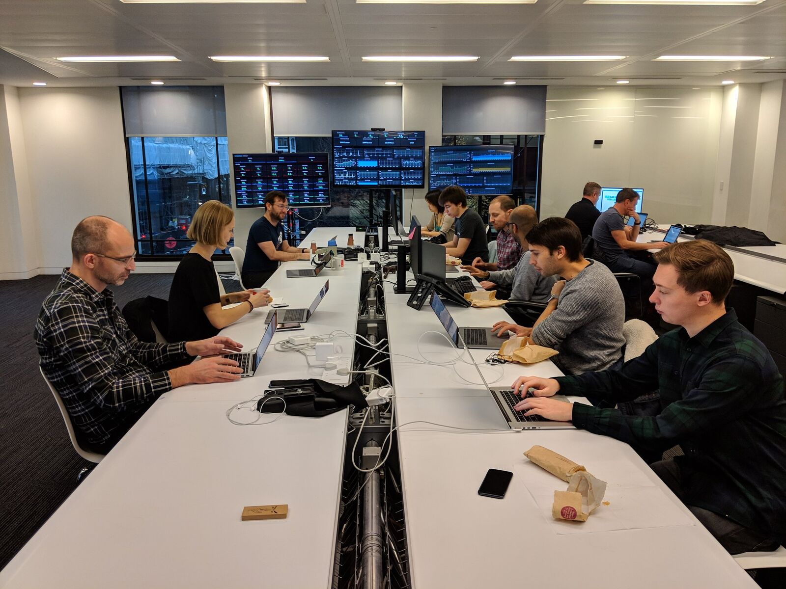 Photo of the team monitoring crowdfunding on the day