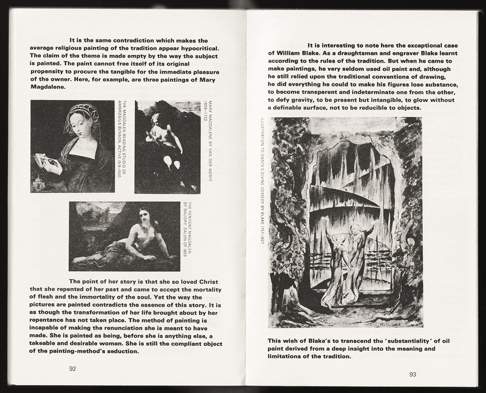 The book 'Ways of Seeing' is open on page 92-93. A few paragraphs in heavy type and three small, black and white images are visible.