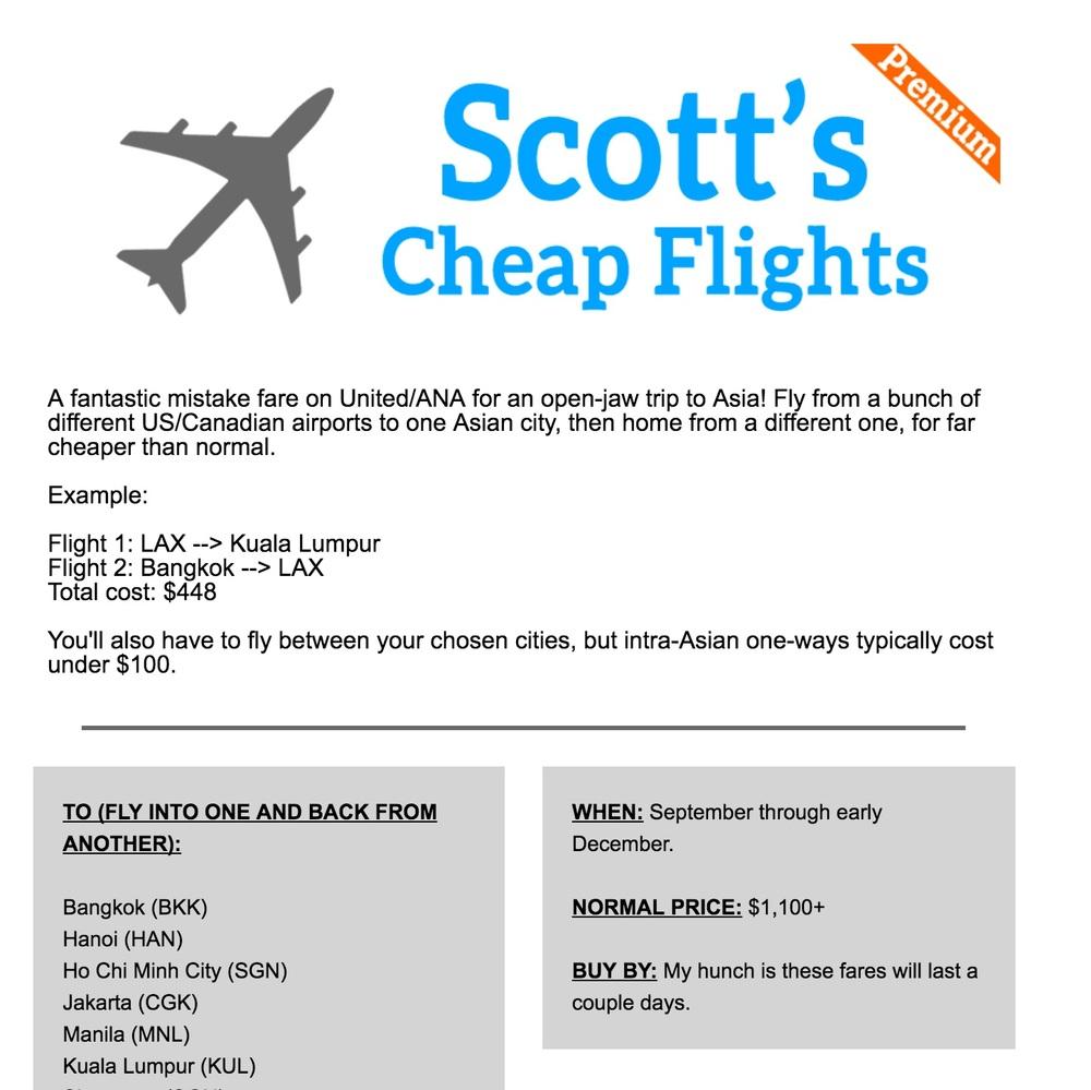 Scotts Cheap Flights, a deal from USA>Asia>USA