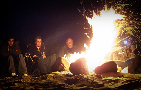 Around the campfire on Jon's Gower stag weekend