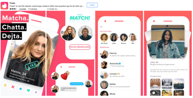 Tinder app page - screenshot from Swedish App Store