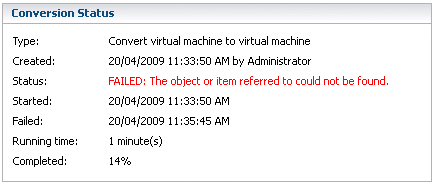 VMWare Converter fails to publish a split-sparse image to ESX