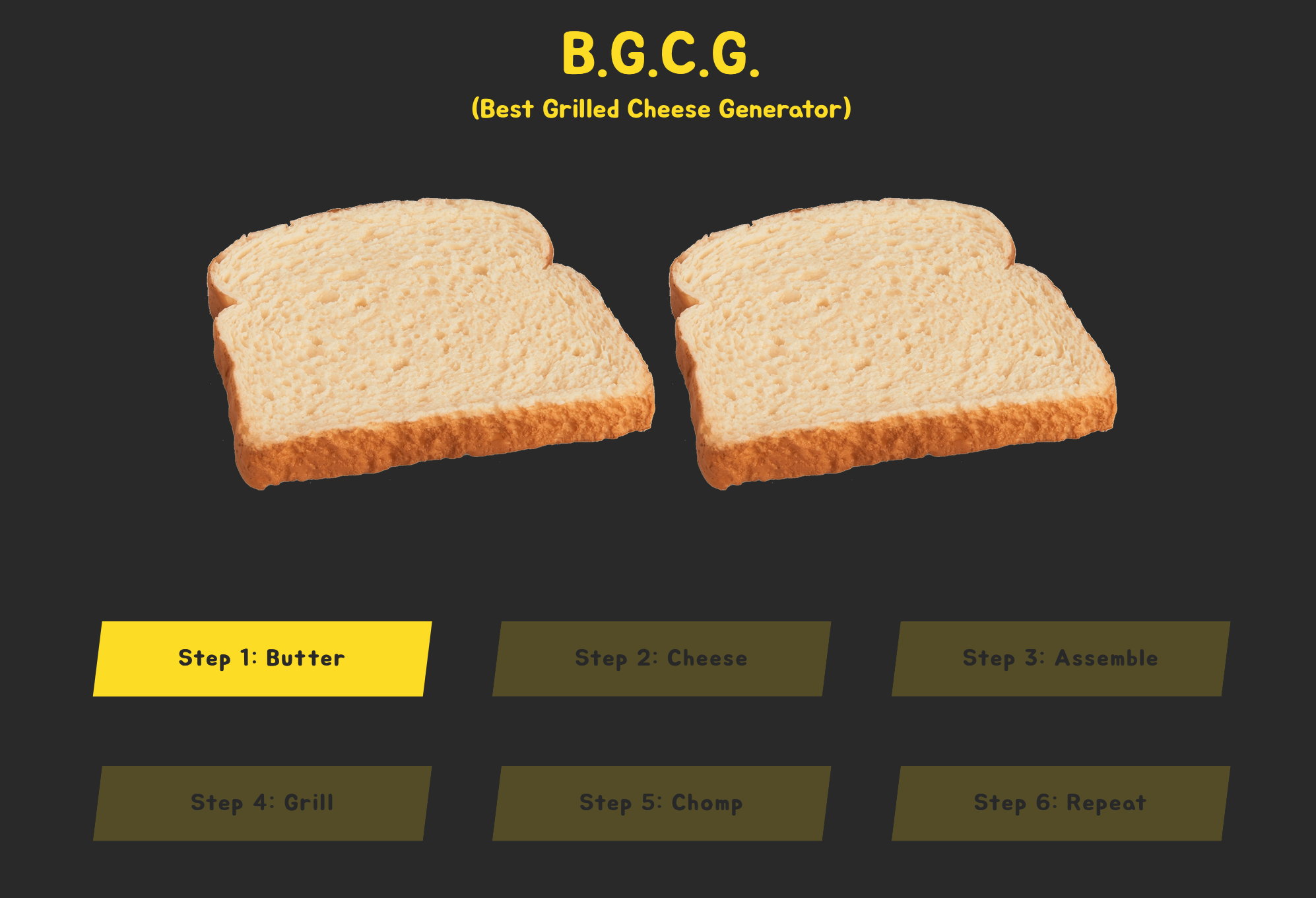 Screenshot of Best Grilled Cheese Generator