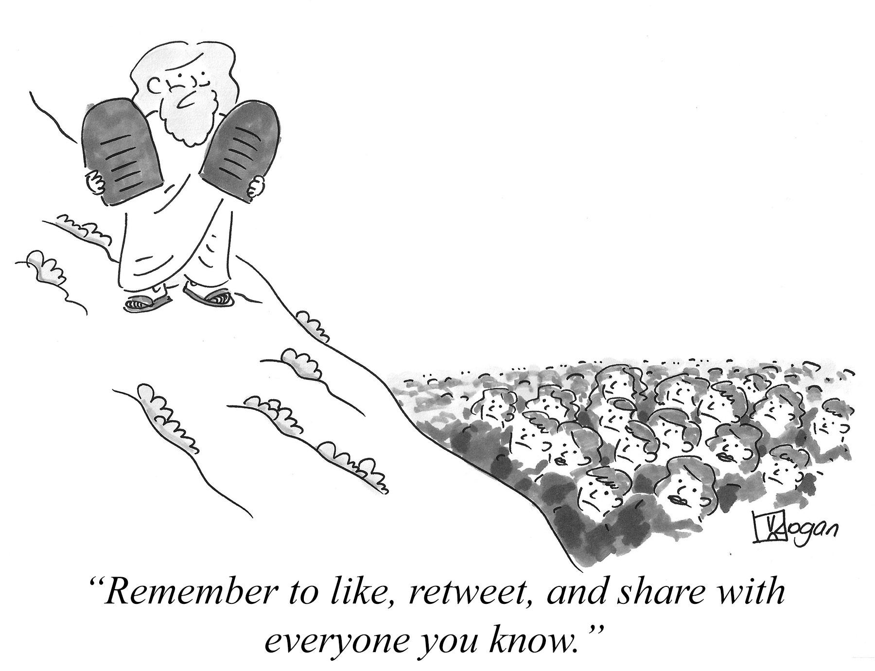 Cartoon about social media marketing
