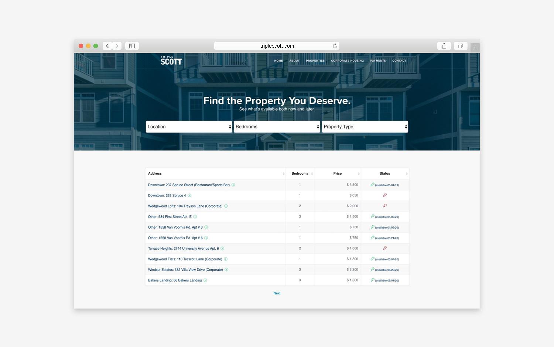 TripleScott website - desktop view