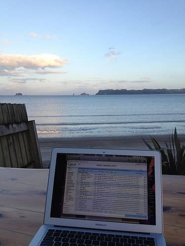 laptop by the beach