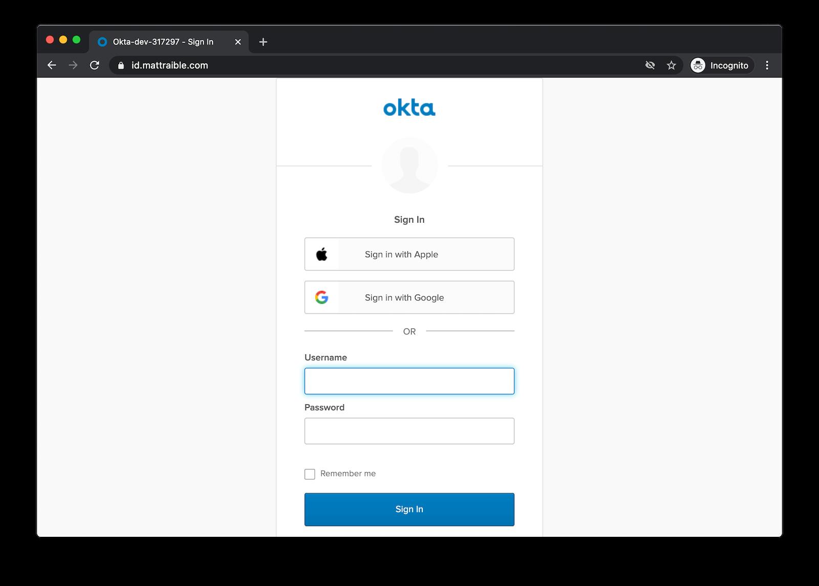 Okta widget with Apple and Google