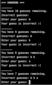 A screenshot of my command line Hangman game.