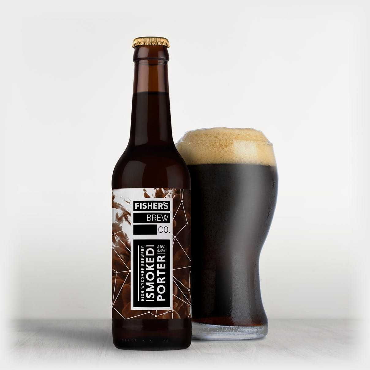 Fisher's branded Smoked Porter bottle and glass of beer