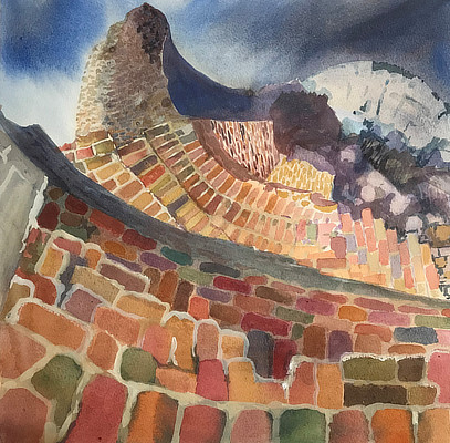 watercolour painting of curved brick Martello walls
