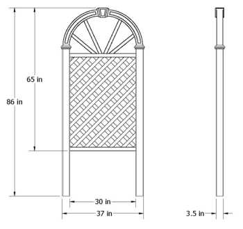 Nantucket Trellis wireframe dimensions