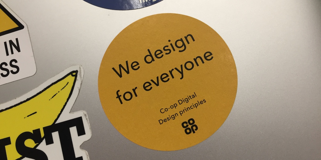 sticker that reads: we design for everyone