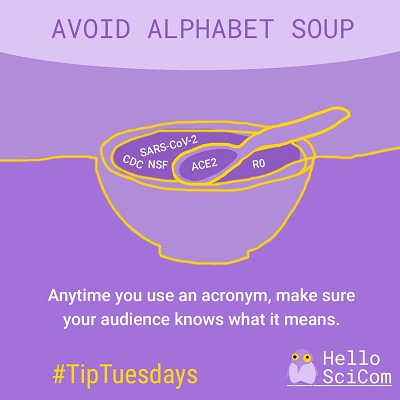 Avoid Alphabet Soup: Anytime you use an acronym, make sure your audience knows what it means.