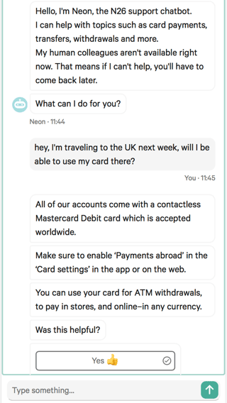 Screenshot of the N26 AI assistant