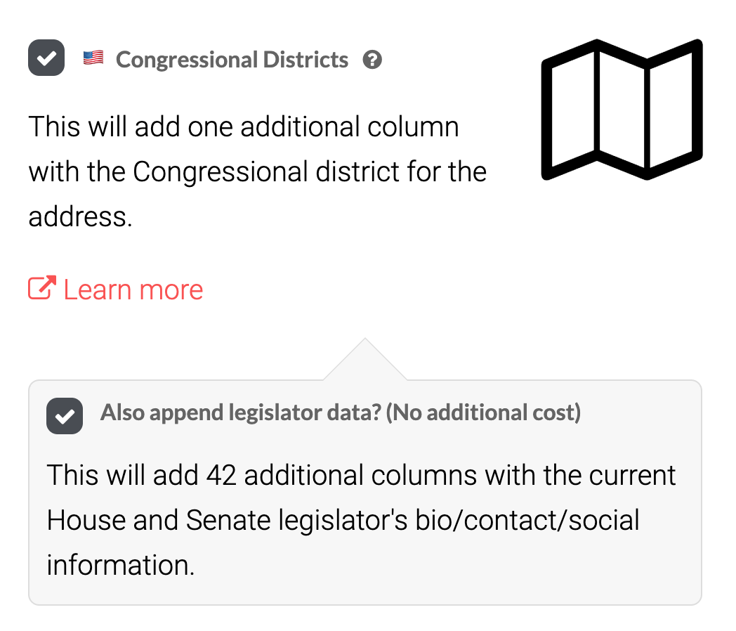 Screenshot showing how to add Congressional contact data in the spreadsheet upload process