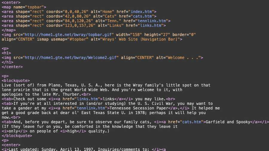 HTML code from a 1997 Web site