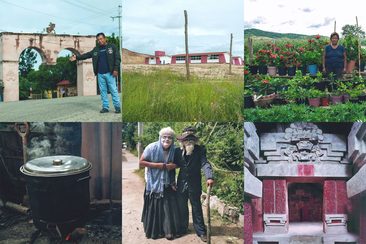 a collage of 6 images showing suchil's pink quarry arch, jose vasconcelos school, enoc's mother at her farm, stew cooking in a pot, costumed comparsa members, and cerro de la campana archeological site