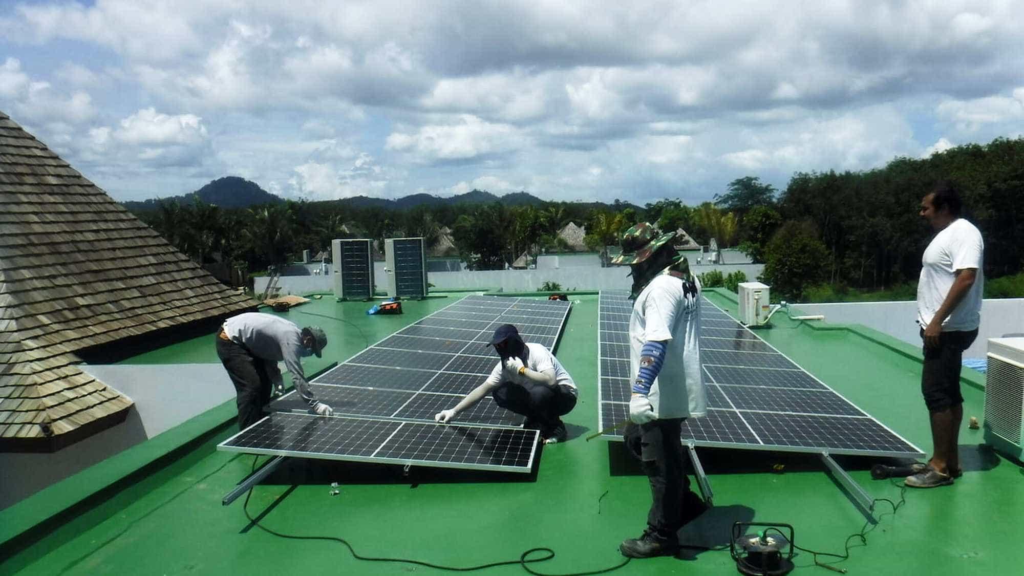 Solar power panels on a shop house roof, Phuket