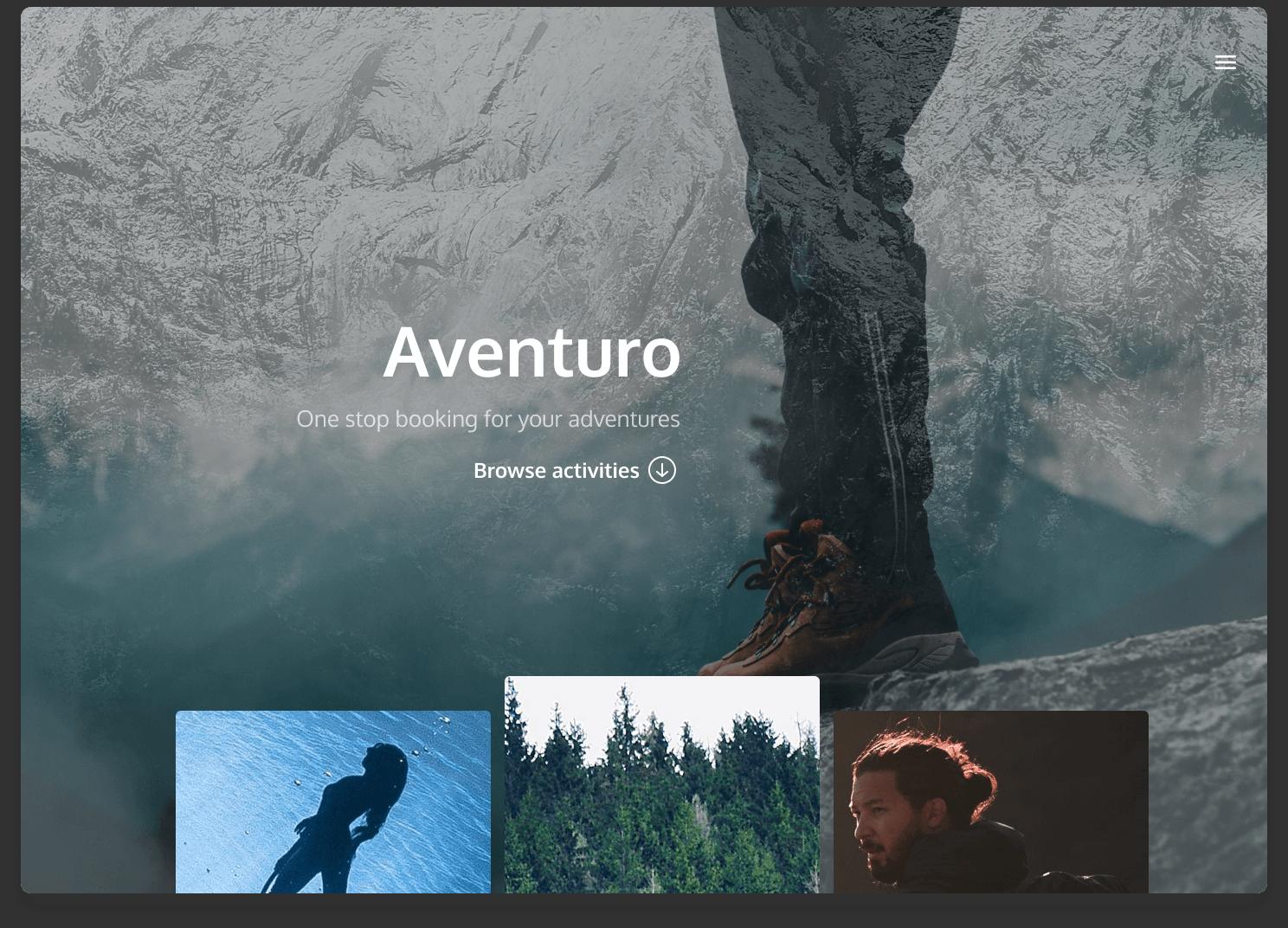 Aventuro website landing page