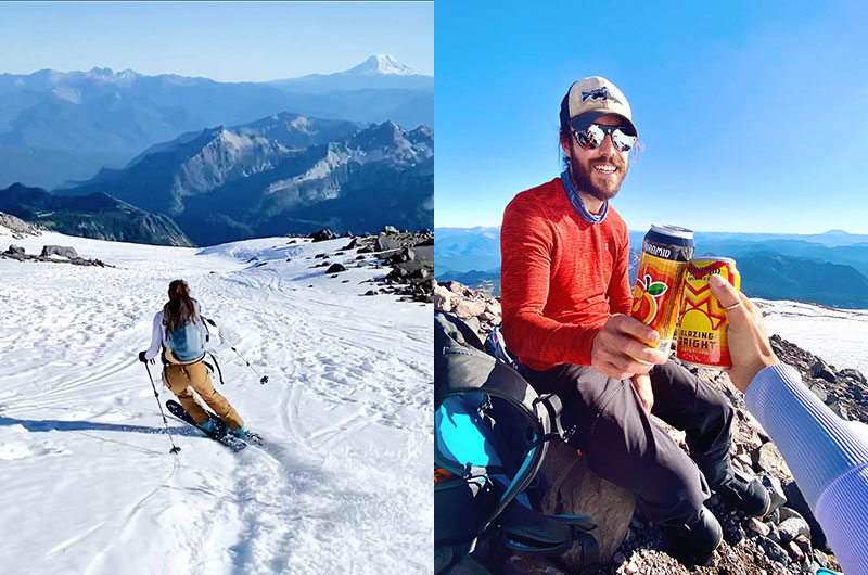 (Left) Skiing down Rainier in the early season. (Right) Enjoying Pyramid beers before skiing down Rainier in early season