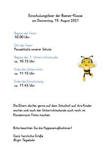 Flyer Einschulungsfeier Bienen 1b