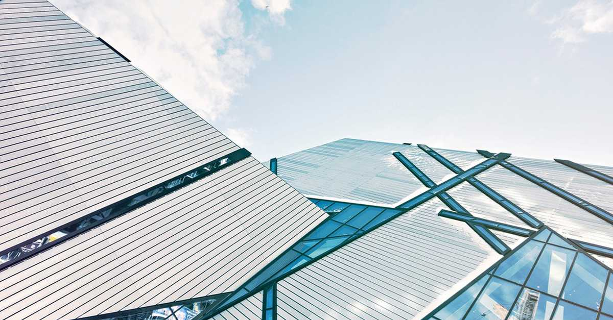 Modern architecture using triangles to reinforce different shapes.