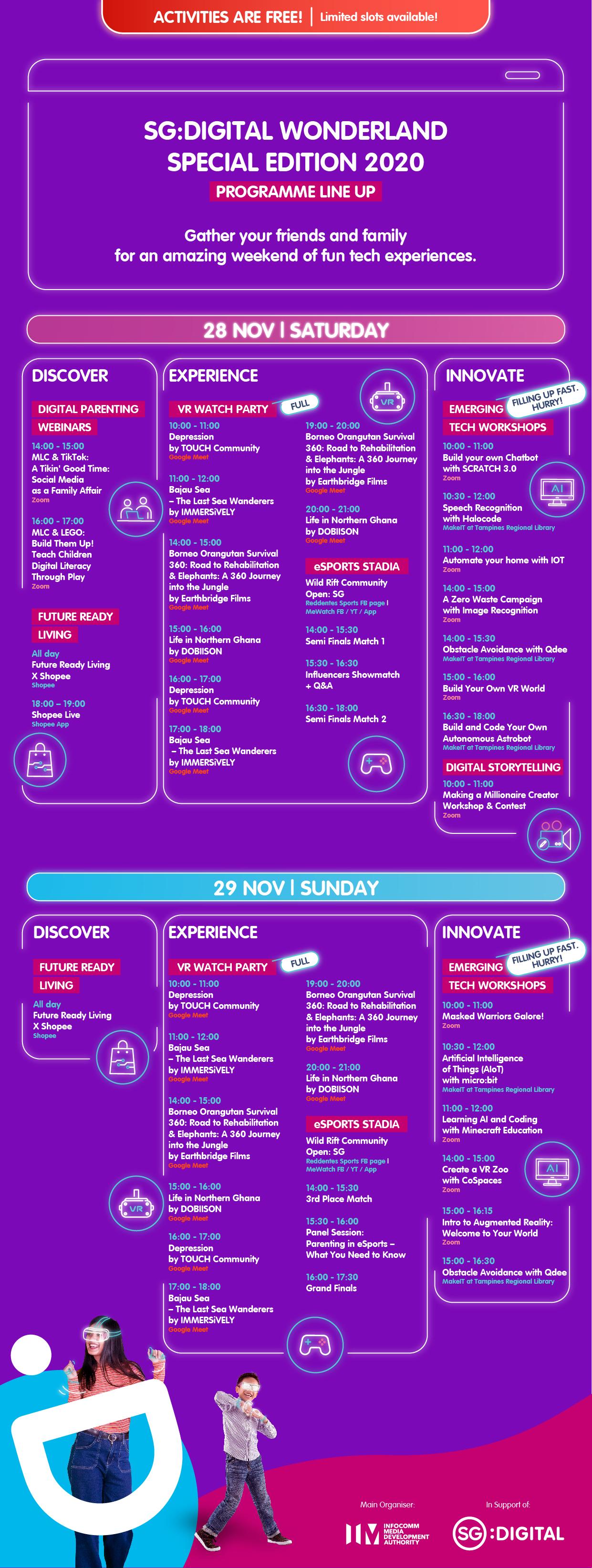 Programme Sheet - Singapore Digital Wonderland 2020