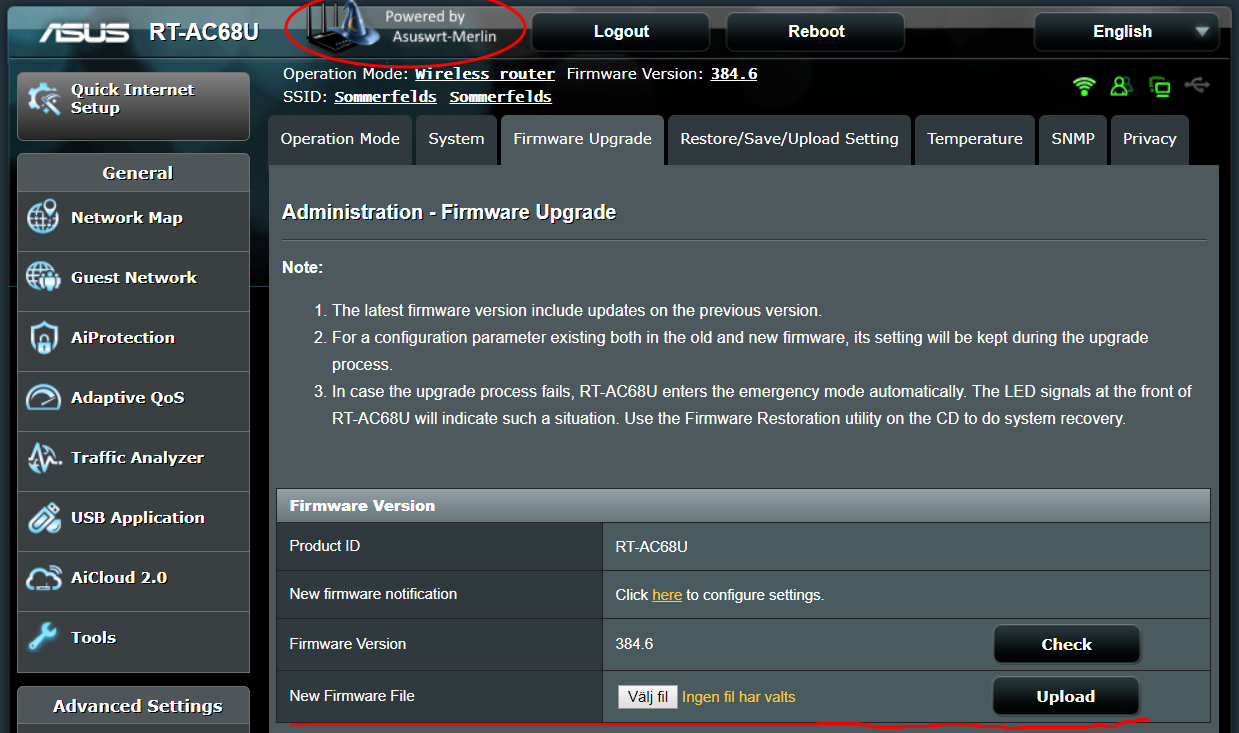 Asus router web interface for uploading and applying a firmware update