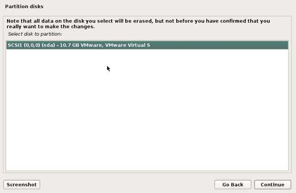 select disk kali linux installation