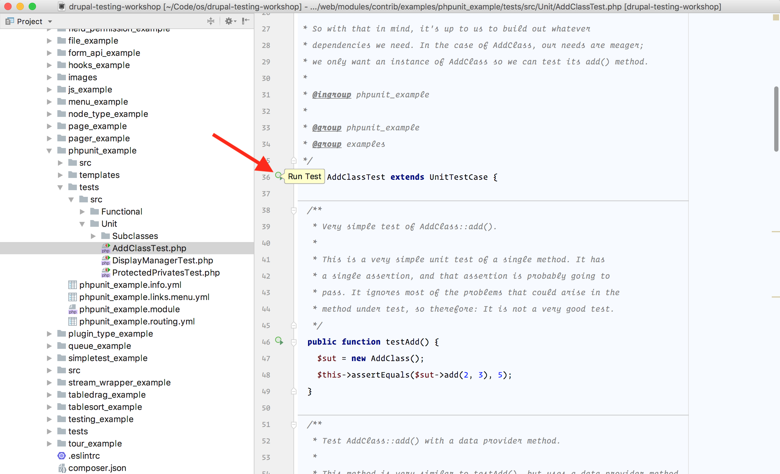 Running a test within PhpStorm