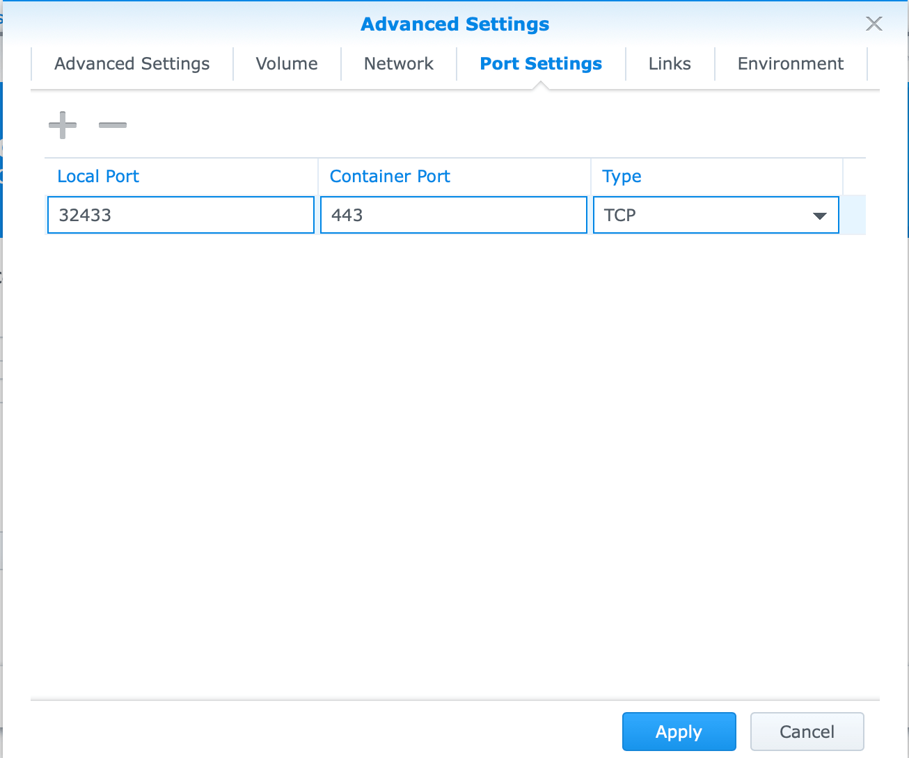 Synology pomerium port settings docker