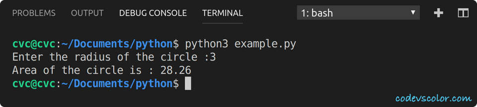 python example find circle area