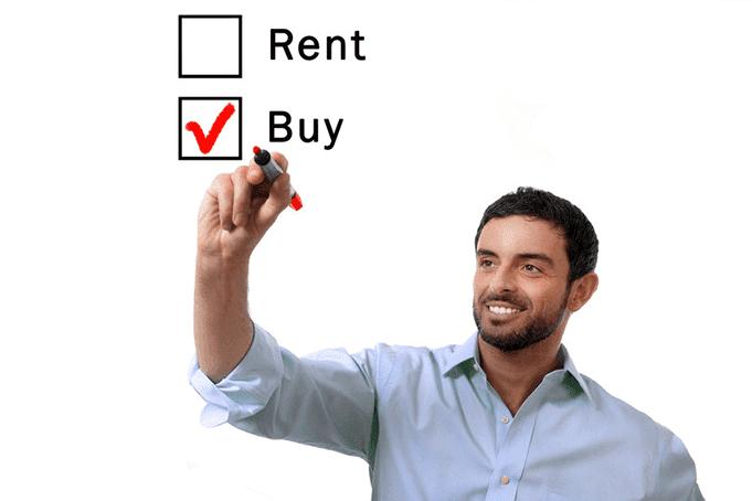 A man checking a checkbox to rent vs buy