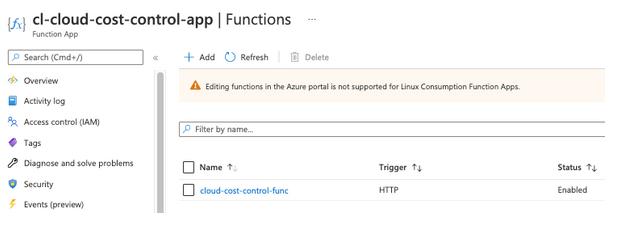 Function App panel in an Azure web GUI