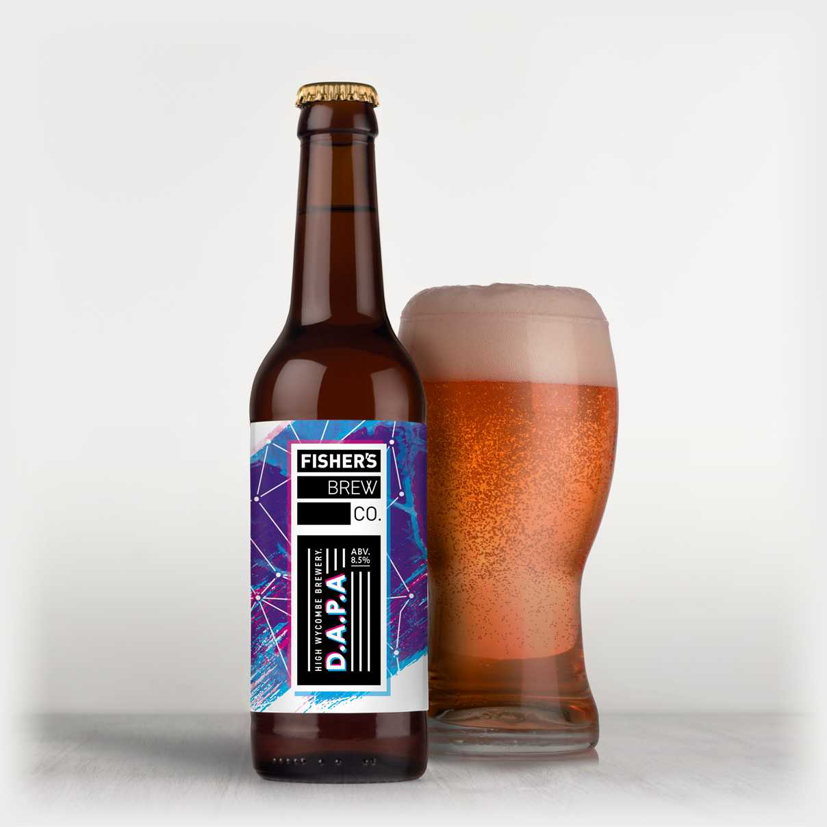 Fisher's branded Double APA bottle and glass of beer