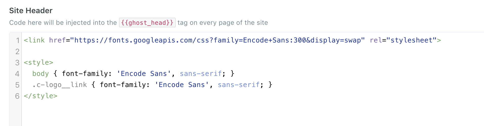Code Inection Site Header section code to Change a Font in Ghost Theme
