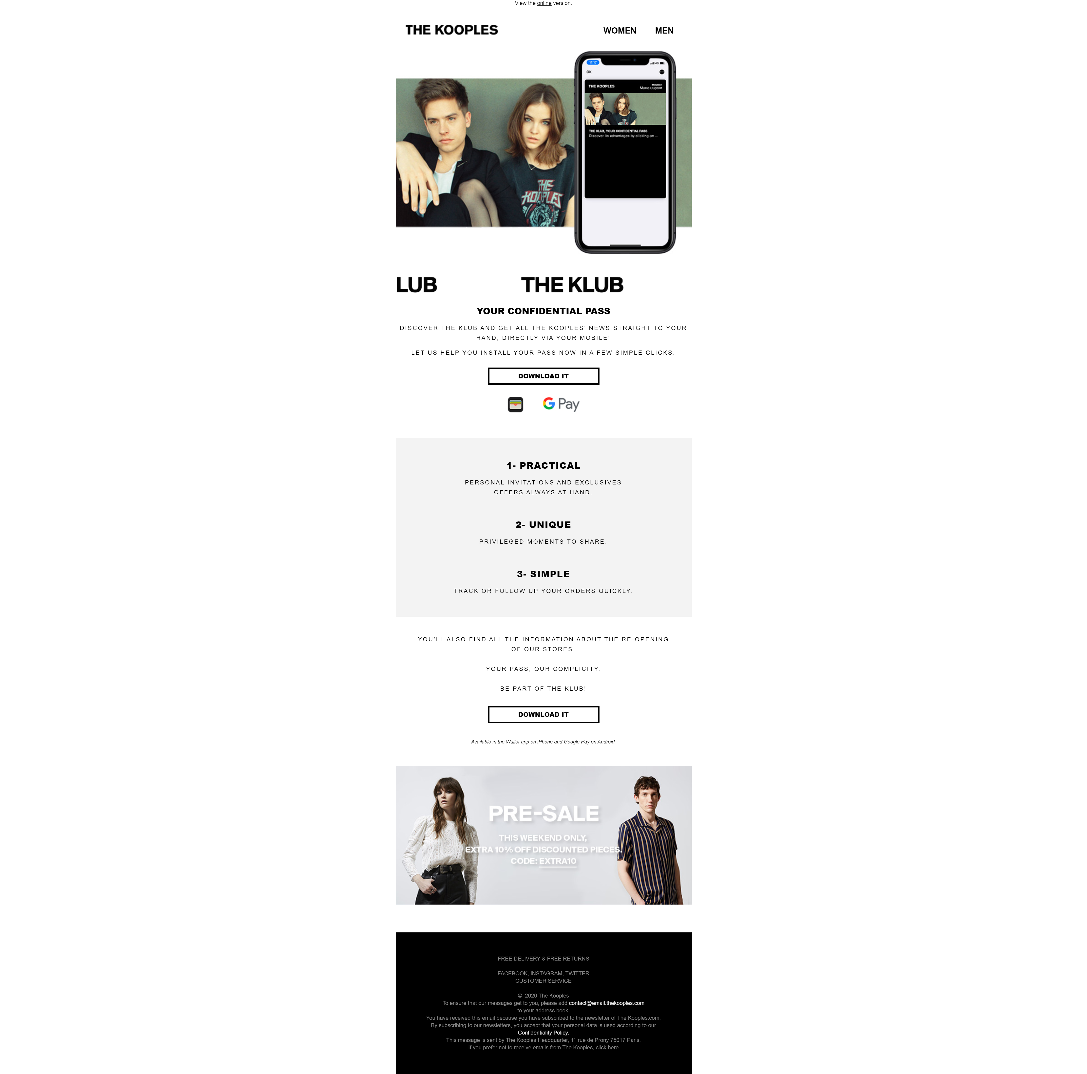 Kooples wallet email campaign